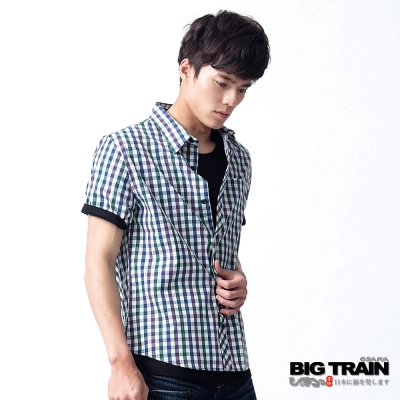 【BIG TRAIN】方格紋短袖襯衫