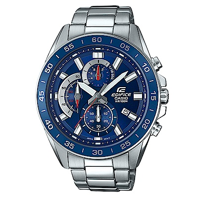 EDIFICE 都會城市沉穩風格計時概念指針腕錶(EFV-550D-2)藍面/47mm