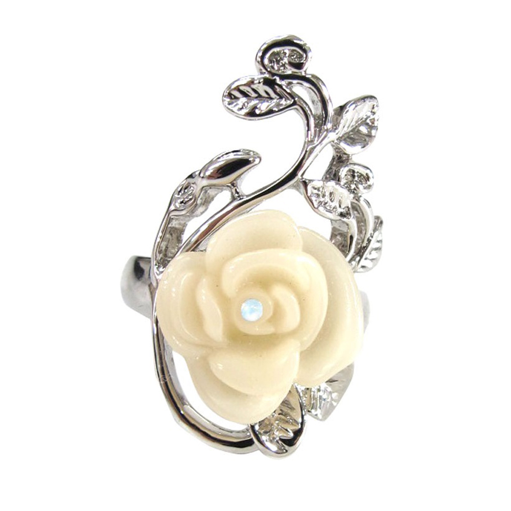 迪士尼 DISNEY COUTURE 白雪公主 白玫瑰花戒指 大朵 鑲白水晶銀葉子