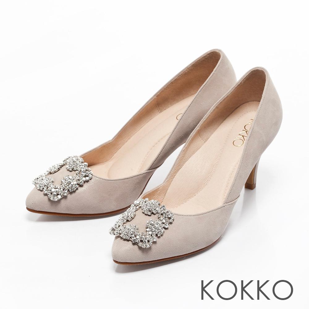 KOKKO -晶燦花嫁鑽扣尖頭高跟鞋-浪漫灰