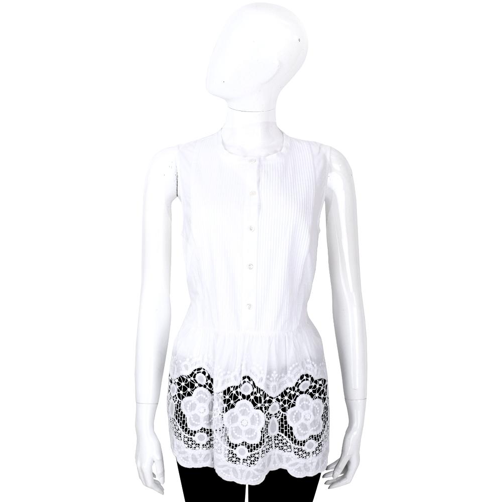 ERMANNO SCERVINO 白色收腰蕾絲設計無袖上衣