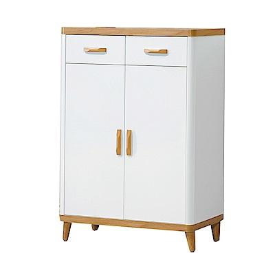 品家居  格丁爾2.7尺木紋雙色二門二抽鞋櫃-80x40x113cm免組