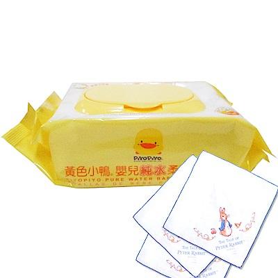 黃色小鴨 盒蓋嬰兒純水柔濕巾(80抽)/1箱+奇哥 彼得兔紗布手帕/3入