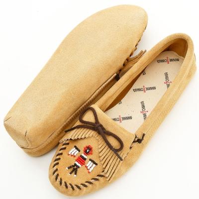 MINNETONKA 卡其色美國手工雷鳥麂皮鞋底開車室內女鞋 (展示品)