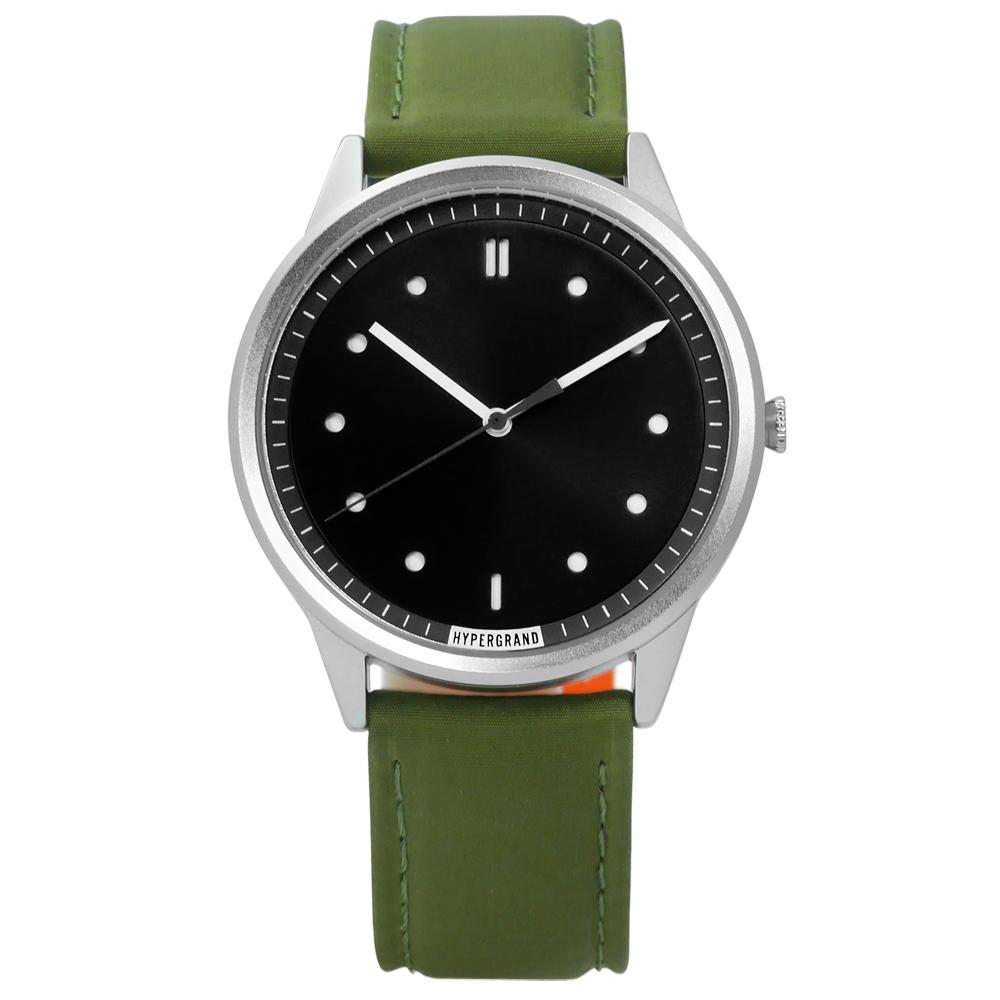 HyperGrand 極簡工業簡約雙拼尼龍手錶-黑x綠/40mm