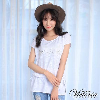 Victoria LOGO繡釘飾落肩腰抽繩短袖T-女-白色