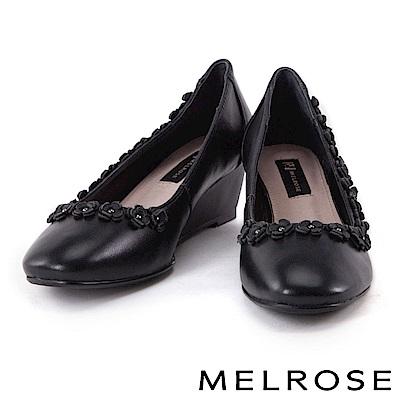 高跟鞋 MELROSE 鉚釘皮花環繞羊皮尖頭楔型高跟鞋-黑
