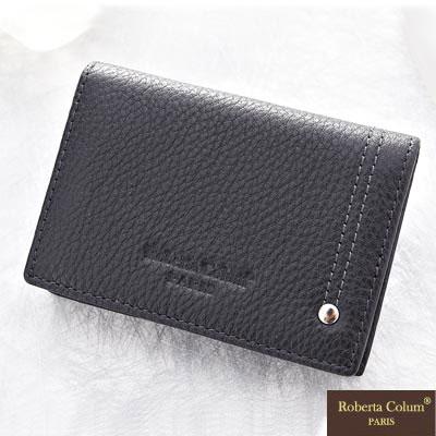 Roberta Colum - 歐洲鉚釘軟牛皮內斂質感名片夾-黑色