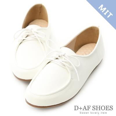 D+AF 俏皮個性.MIT綁帶造型平底休閒鞋*白