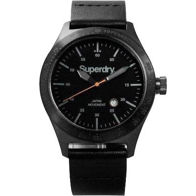 Superdry極度乾燥英倫紳士時尚真皮手錶-黑/44mm