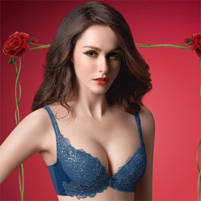 華歌爾-精緻義大利華麗款D罩杯內衣-寶石藍