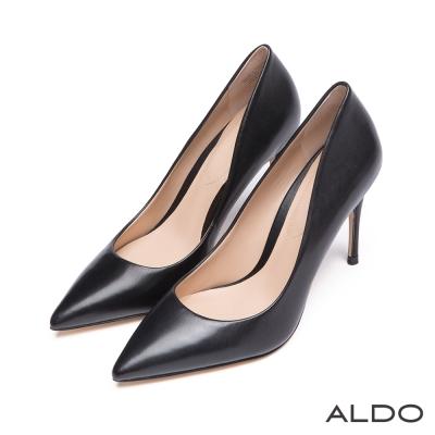 ALDO-摩登名媛原色真皮尖頭細高跟鞋-尊爵黑色
