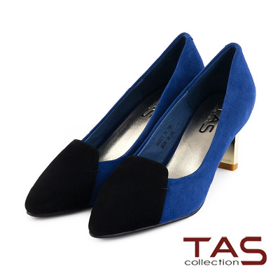 TAS-質感麂皮撞色樂福金屬方跟鞋-唯美藍