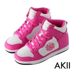 AKII韓國空運‧皇家徽章高筒網布內增高休閒鞋-桃白