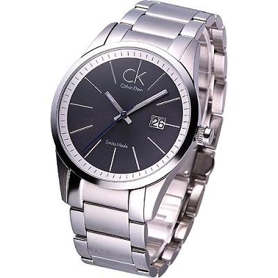 cK new blod 簡約風鋼帶腕錶-黑