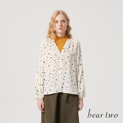 beartwo 時尚羅紋抽皺半高領合身上衣(三色)