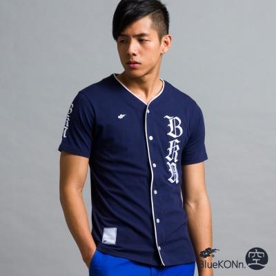 空-BLUE-WAY-針織棒球襯衫-丈青