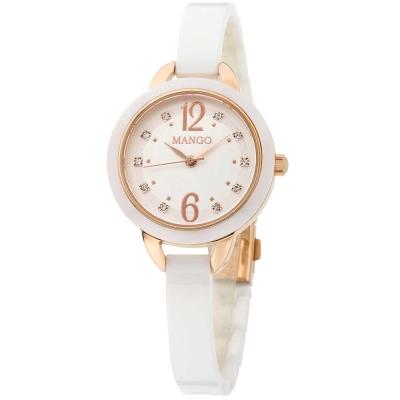 Mango 可愛甜心晶鑽陶瓷腕錶-白/玫瑰金-30mm