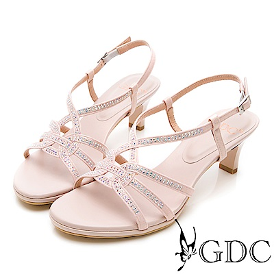 GDC-閃爍水鑽交叉繞帶低跟涼鞋-粉色