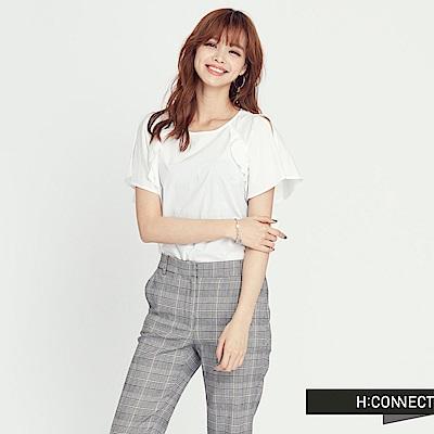 H:CONNECT 韓國品牌 女裝 -純色設計感圓領上衣-米白