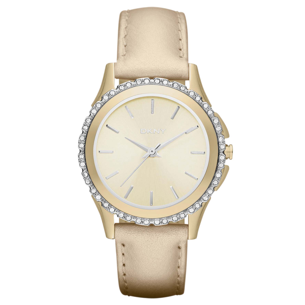 DKNY 絕代魅力晶鑽都會腕錶-香檳金/32mm