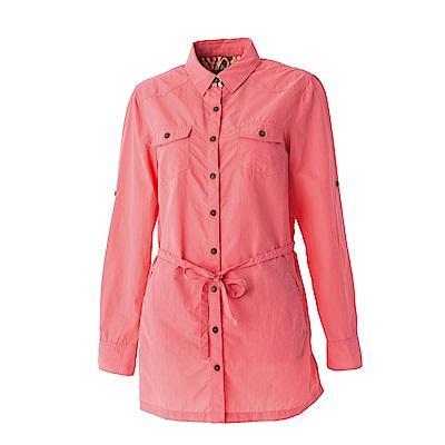 【Wildland 荒野】女抗UV時尚長版襯衫-粉橘色