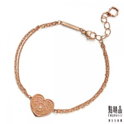點睛品-V-A-18K玫瑰金鑽石手鍊