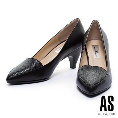 高跟鞋-AS-全真皮心型鞋口羊皮尖頭高跟鞋-黑