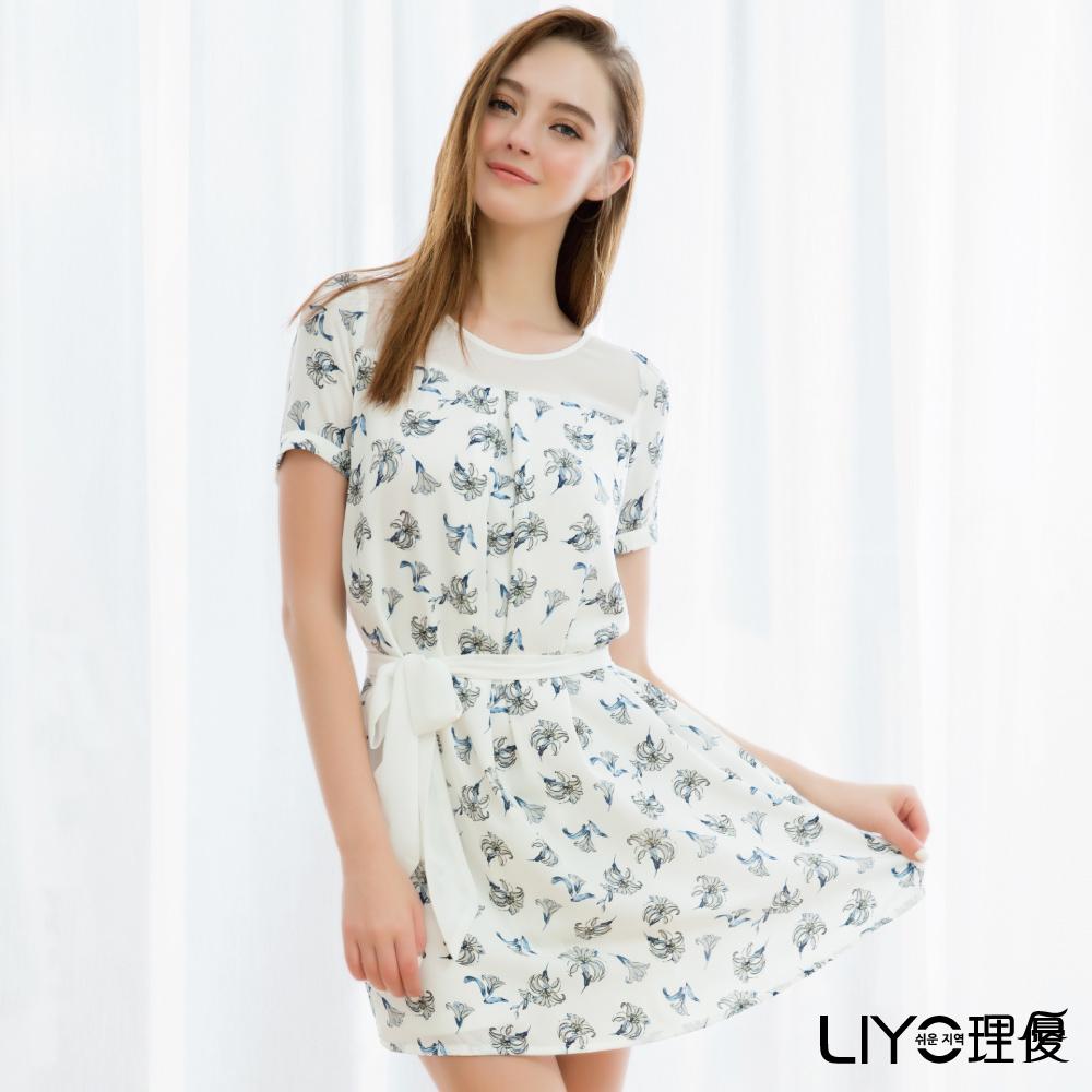 LIYO理優縷空滿版印花洋裝(白)