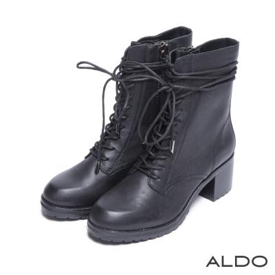 ALDO-歐美時尚原色真皮綁帶木紋粗高跟靴-尊爵黑