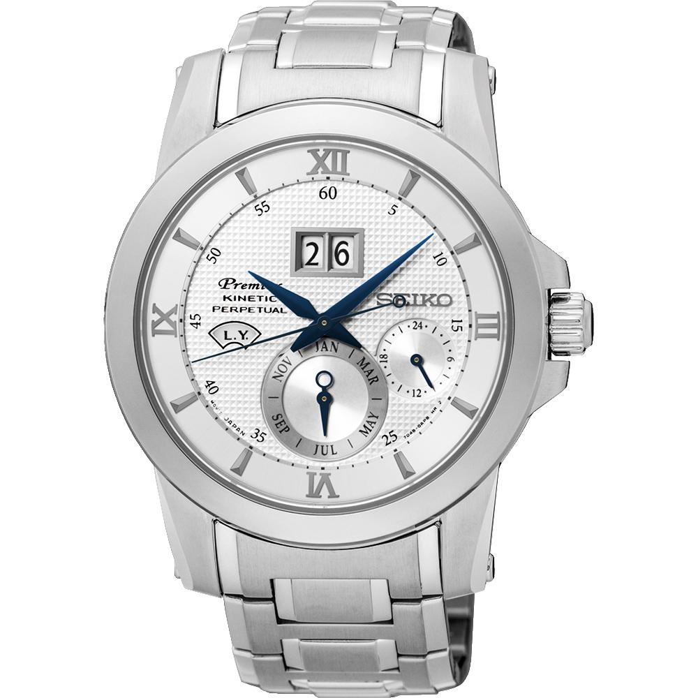 SEIKO 精工 Kinetic 萬年曆大視窗腕錶(SNP133J1)-銀/41mm