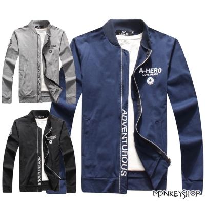 小猴子的賣場 簡約新潮款小立領字母潮流飛行夾克棉質外套-3色