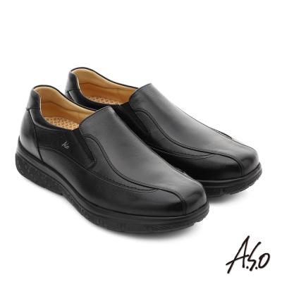 A.S.O 超能耐 都會休閒羊紋牛皮奈米直套式皮鞋 黑色