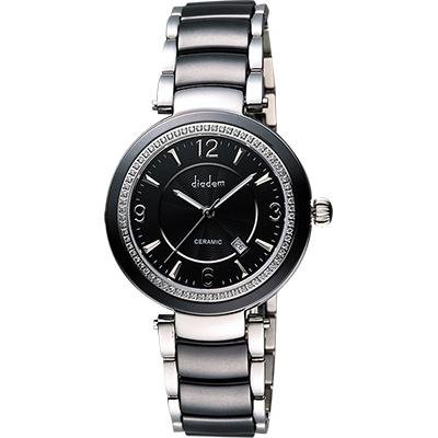 Diadem 黛亞登 都會女伶晶鑽陶瓷腕錶-黑/35mm
