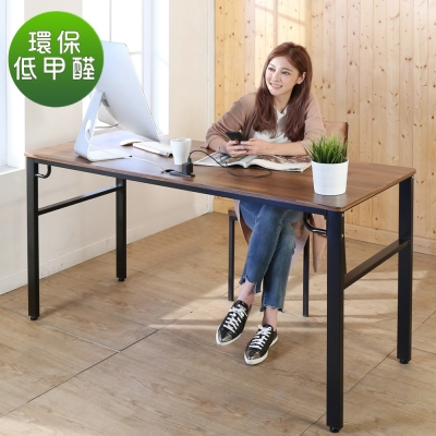 BuyJM工業風低甲醛防潑水附插座穩重工作桌寬160x60x79公分-DIY