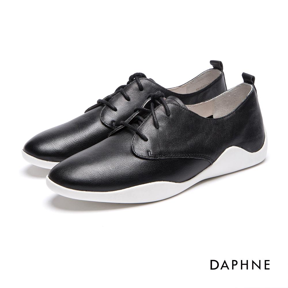 達芙妮DAPHNE 休閒鞋-真皮繫帶拼接平底休閒鞋-黑