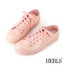 HERLS 雨季必備 帆布款低筒綁帶雨鞋-粉色