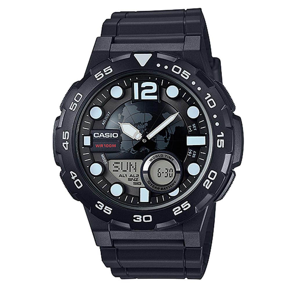 CASIO 悍將世界地圖玩家潛水風格雙顯運動錶(AEQ-100W-1A)-黑/47.7mm