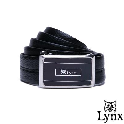 Lynx - 山貓紳士系列穩重款自動扣真皮皮帶