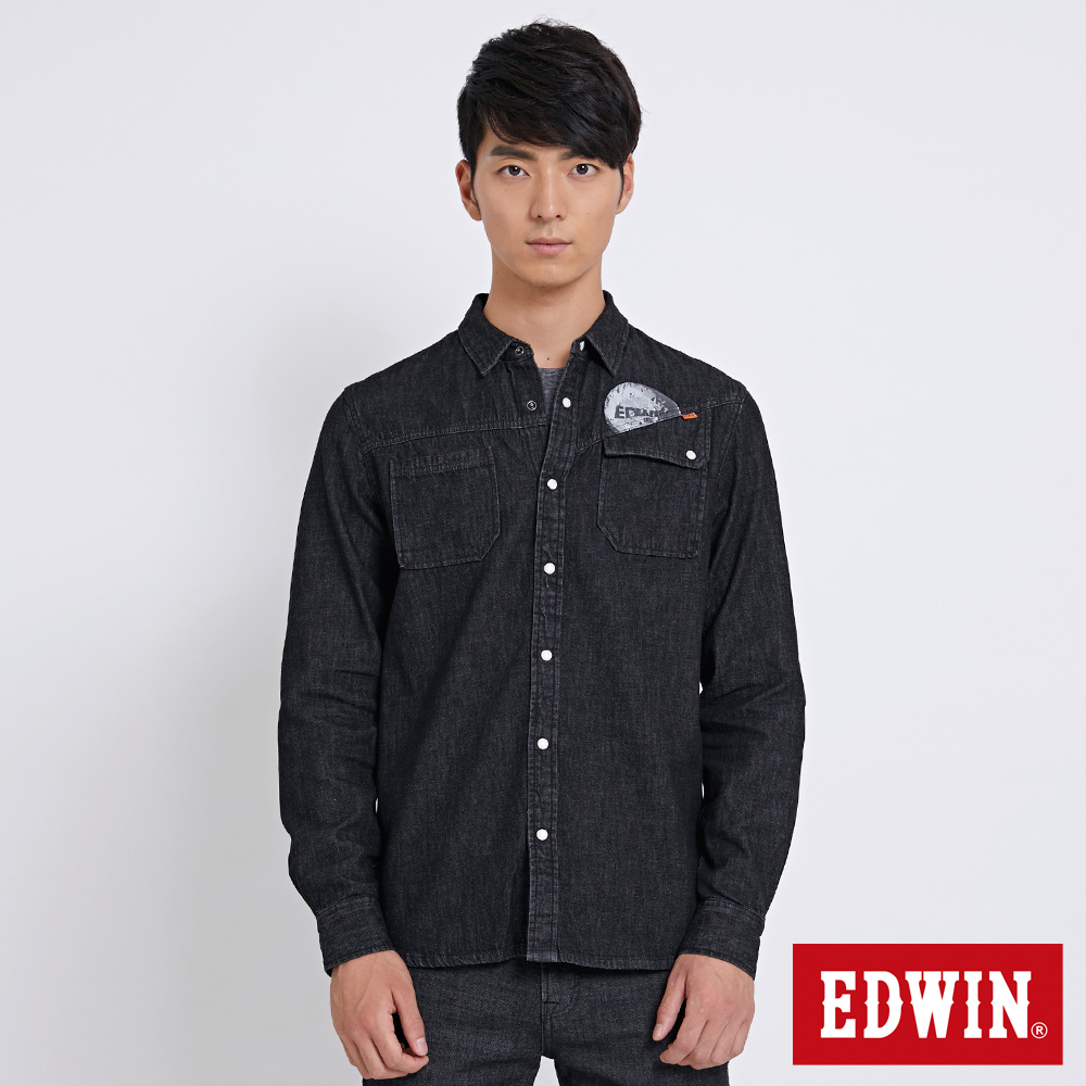 EDWIN 太空競賽月球牛仔襯衫-男-黑色