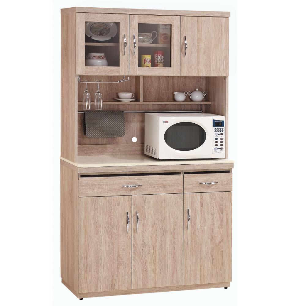 品家居 願景4尺橡木紋碗盤收納餐櫃組合(上+下座)