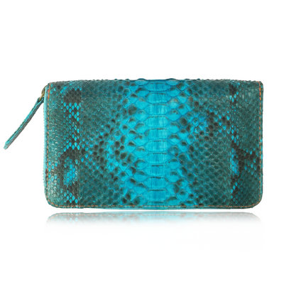 ACUBY 限量單品手工蛇皮大容量長夾/時尚藍