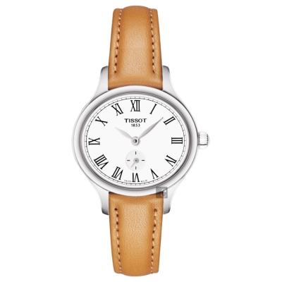 TISSOT天梭 BELLA ORA PICCOLA 系列小秒針女錶-白x卡其色/27mm