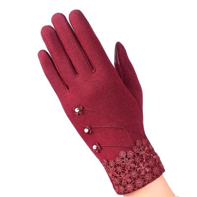 幸福揚邑-防風加絨觸控騎車開車保暖棉手套-典雅蕾絲-紅色