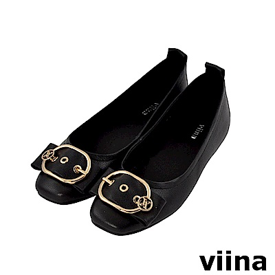 viina-都會系列-俐落皮帶扣真皮平底鞋-經典黑