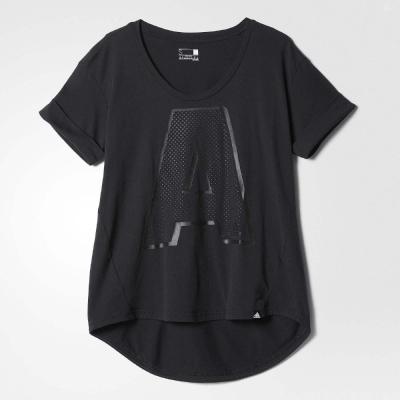 adidas T恤 A Letter 女 黑 銀