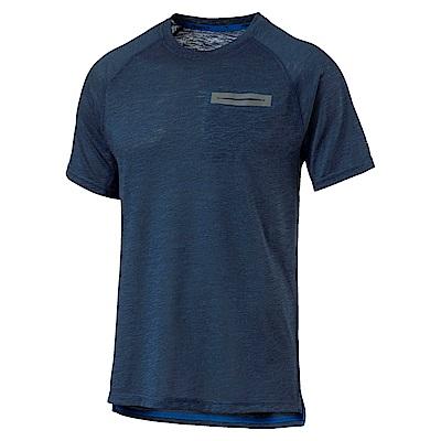 PUMA-男性慢跑系列素面能量短袖T恤-馬尾藻海藍(麻花)-歐規