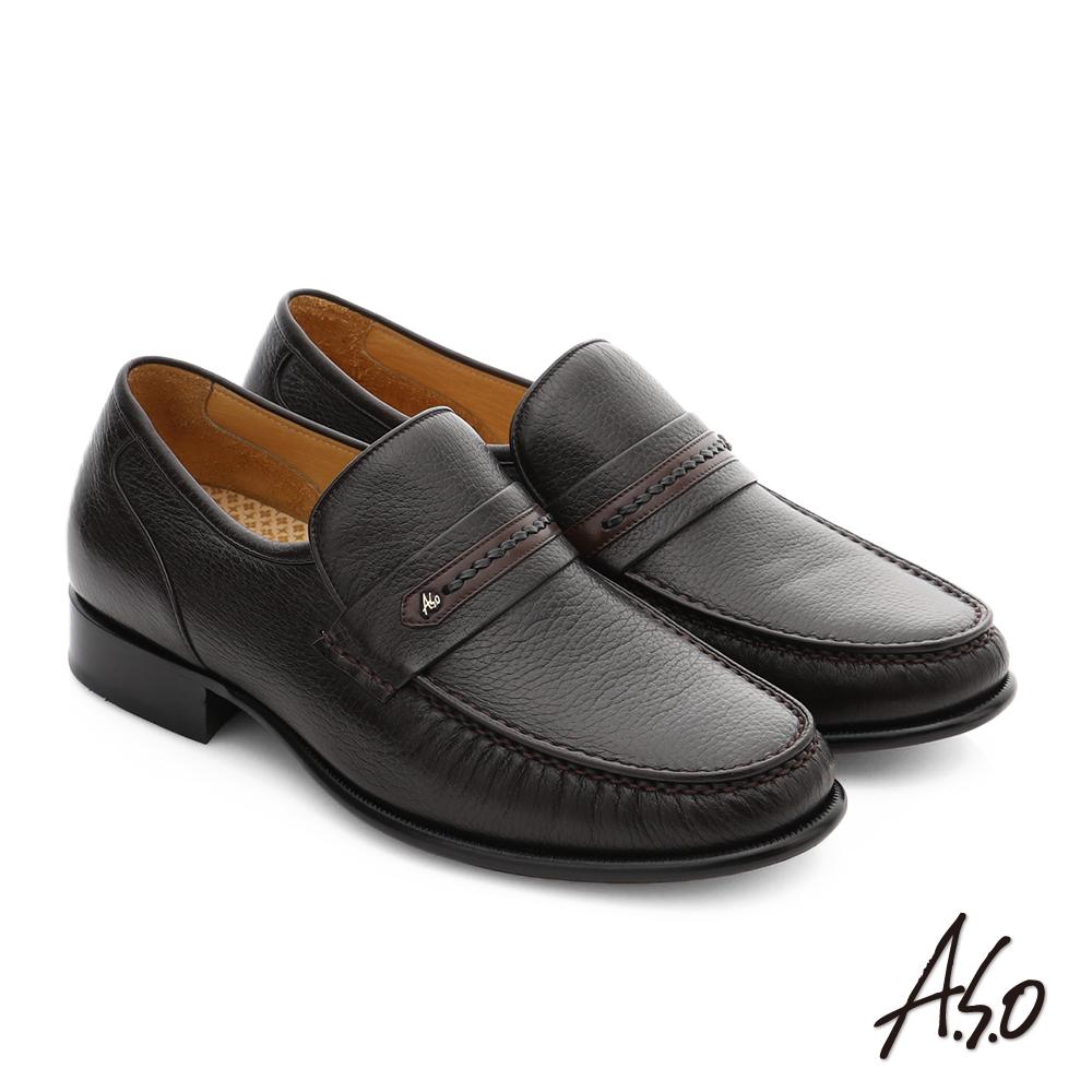 A.S.O 極致工藝 柔軟鹿皮手縫紳士鞋 深咖啡色