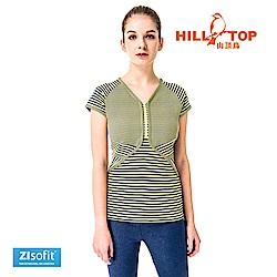 【hilltop山頂鳥】女款吸濕排汗抗UV上衣S04FH1-黃綠條