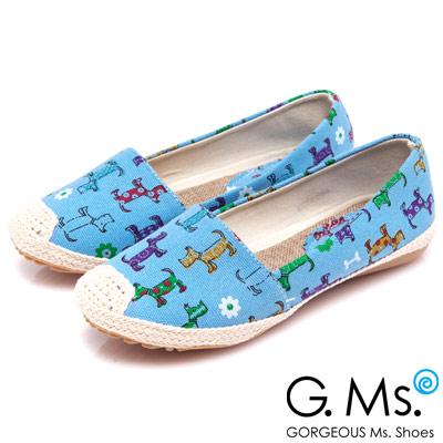 G.Ms. 繽紛心情-可愛狗狗麻繩編織懶人鞋-亮彩藍